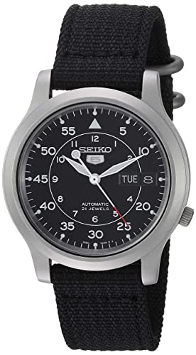 Seiko 5 Men S Automatic Watch With Black Dial Analogue Display And