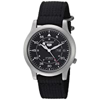 Men's SNK809 Seiko 5 Automatic Stainless Steel Watch with Black Canvas Strap