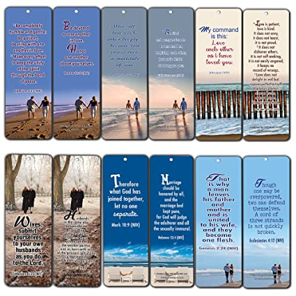 Bible Verses About Marriage Bookmarks Cards (30-Pack)- Religious Scriptures  for Successful Marriage Relationship - Wedding Anniversary Husband and