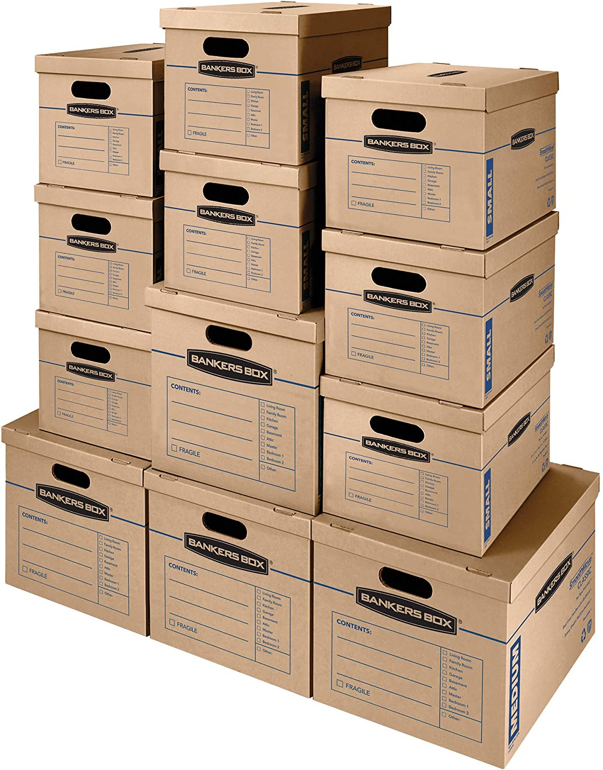 SmoothMove Classic Moving Boxes, Tape-Free Assembly, Easy Carry Handles