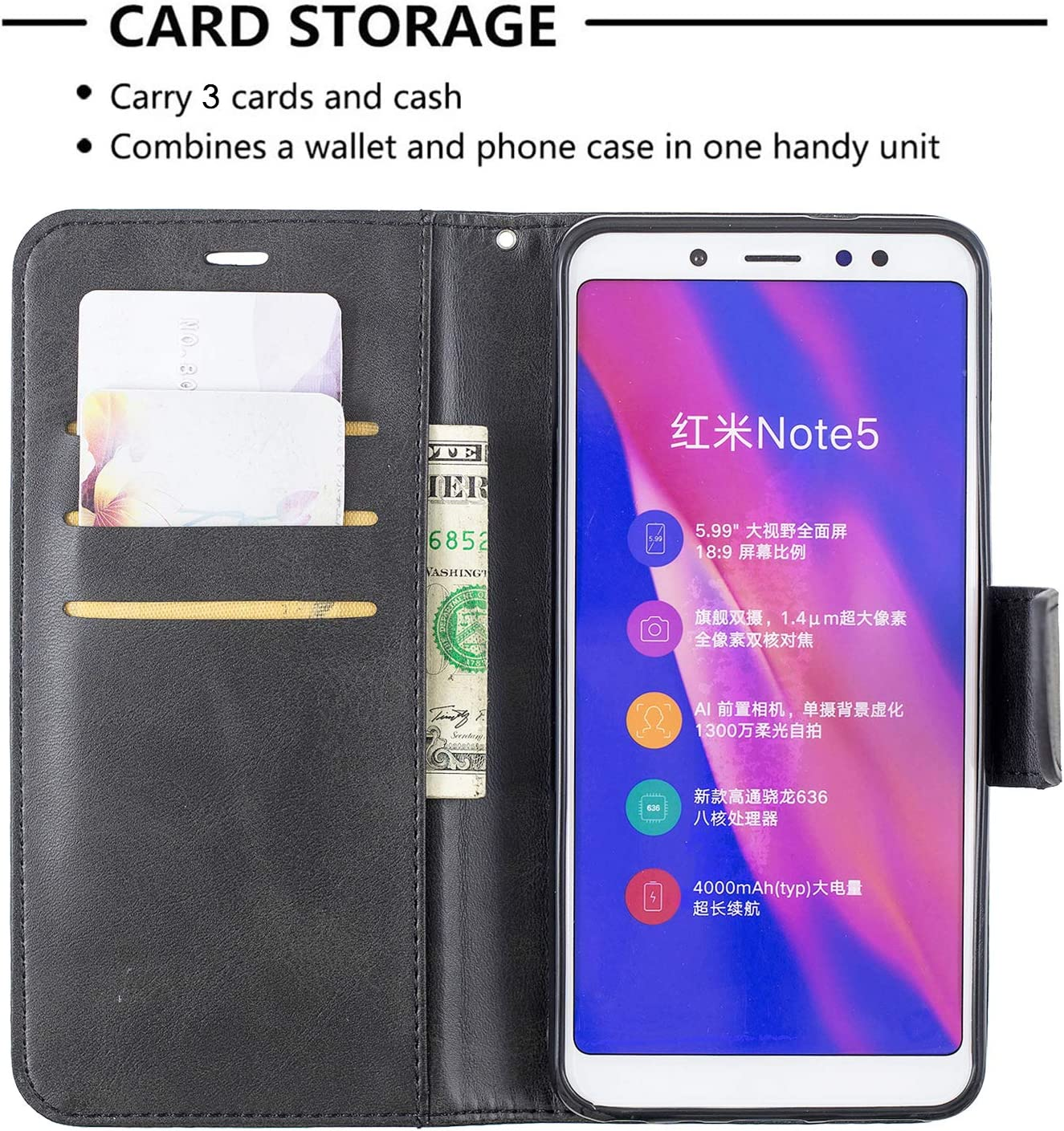 LOBFE150655 Black Lomogo Xiaomi Redmi Note 5 Pro Case Leather Wallet Case with Kickstand Card Holder Shockproof Flip Case Cover for Xiaomi Redmi Note5 Pro