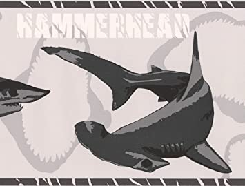 Various Shark Species Black On Grey Wallpaper Border For Kids Roll 15 X 7