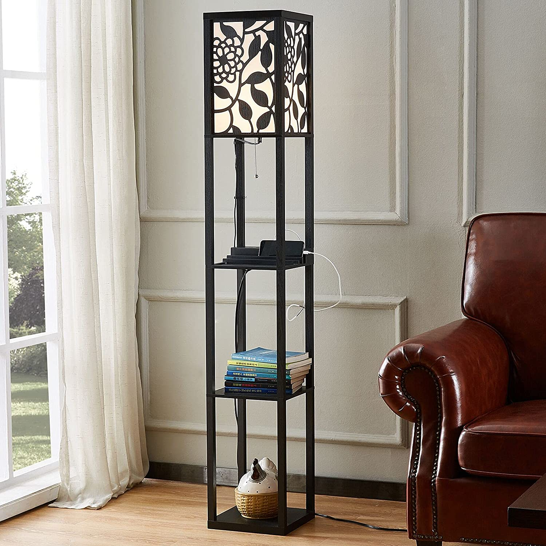 Shelf Floor Lamp with USB Charging Port - Bookshelf Nightstand Floor Lamp for Bedroom Living Room,Modern Corner Storage Floor Lamp (2 USB Port & 1 Outlet)