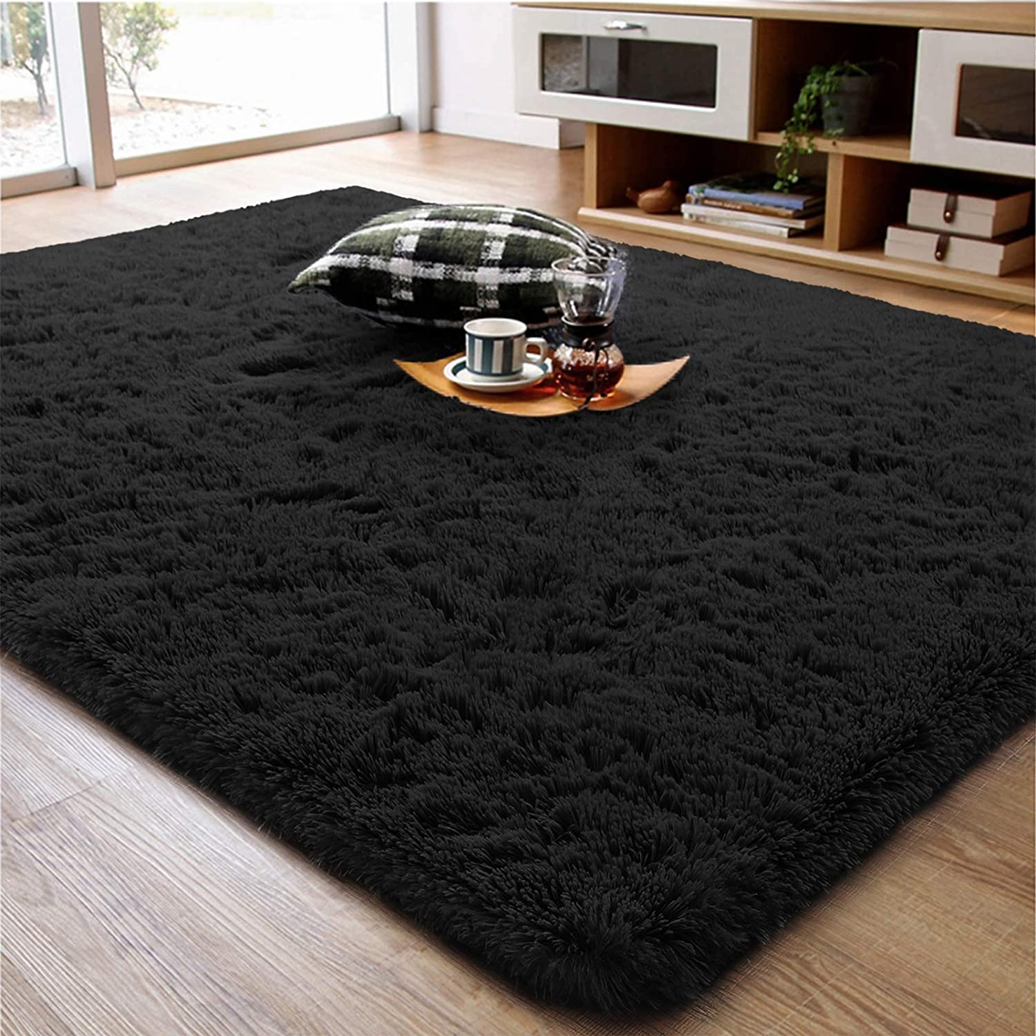 Soft Fluffy Area Rug for Living Room Bedroom, 5x8 Black Plush Shag Rugs with Non-Slip Backing, Fuzzy Shaggy Accent Carpets for Kids Girls Rooms, Modern Apartment Nursery Dorm Indoor Furry Decor