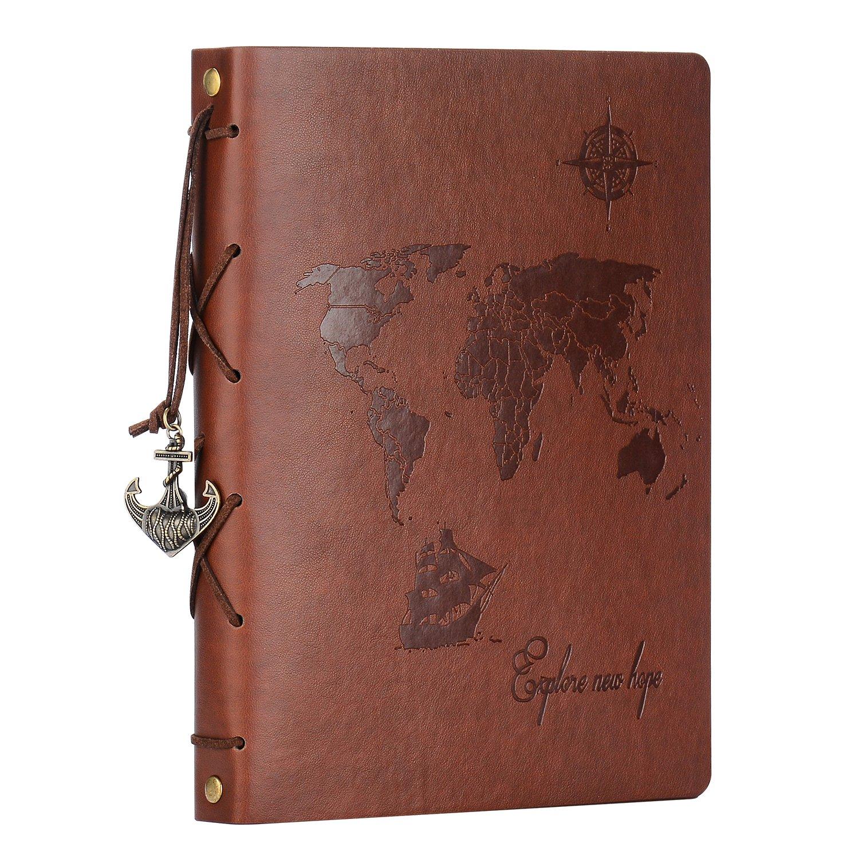 Scrapbook Album,ZEEYUAN Travel Leather Photo Album''World Map''Vintage DIY Photo Book 60 Pages Special Valentines Birthday Anniversary Gifts for Father Boyfriend (Brown, L)