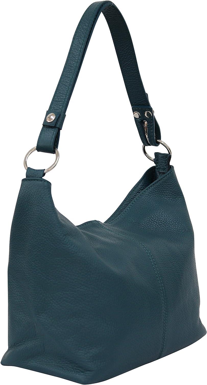 AMBRA Moda Hobo bag GL005 - Bolso de mujer de cuero, bolso de mano y bandolera Petróleo