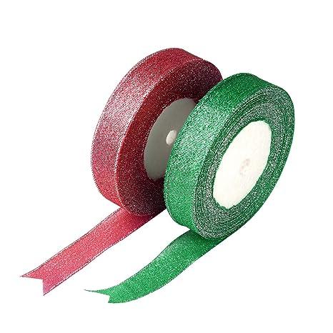 10mm x 25 Yards 22 Metres - Silver Sparkle Organza Ribbon Roll