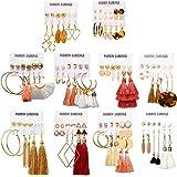 63 Pairs Colorful Earrings with Tassel Earrings Layered Ball Dangle Hoop Stud Jacket Earrings for Women Girls Jewelry…