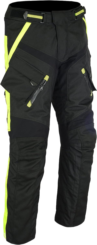 M, Schwarz 6066 BOS Sportliche Motorrad Hose Motorradhose Schwarz mit Oberschenkeltaschen
