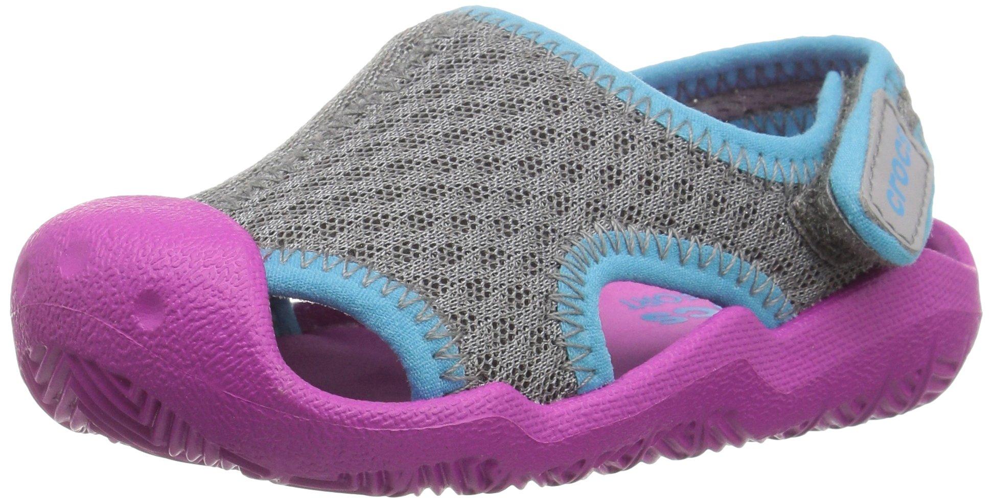 Crocs Kids' Swiftwater Sandal,Smoke/Vibrant Violet,12 M US Little Kid