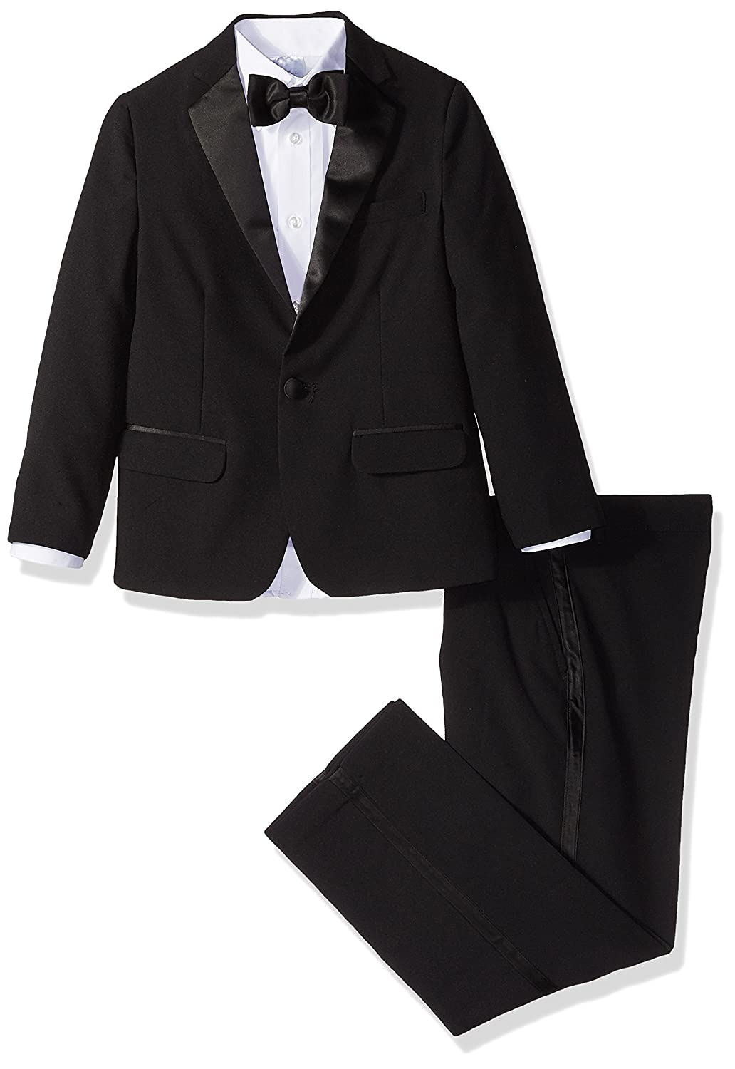 2b26d91283f Amazon.com: IZOD Boys' 4-Piece Formal Tuxedo Set with Jacket, Pants, Shirt,  and Bow Tie: Clothing
