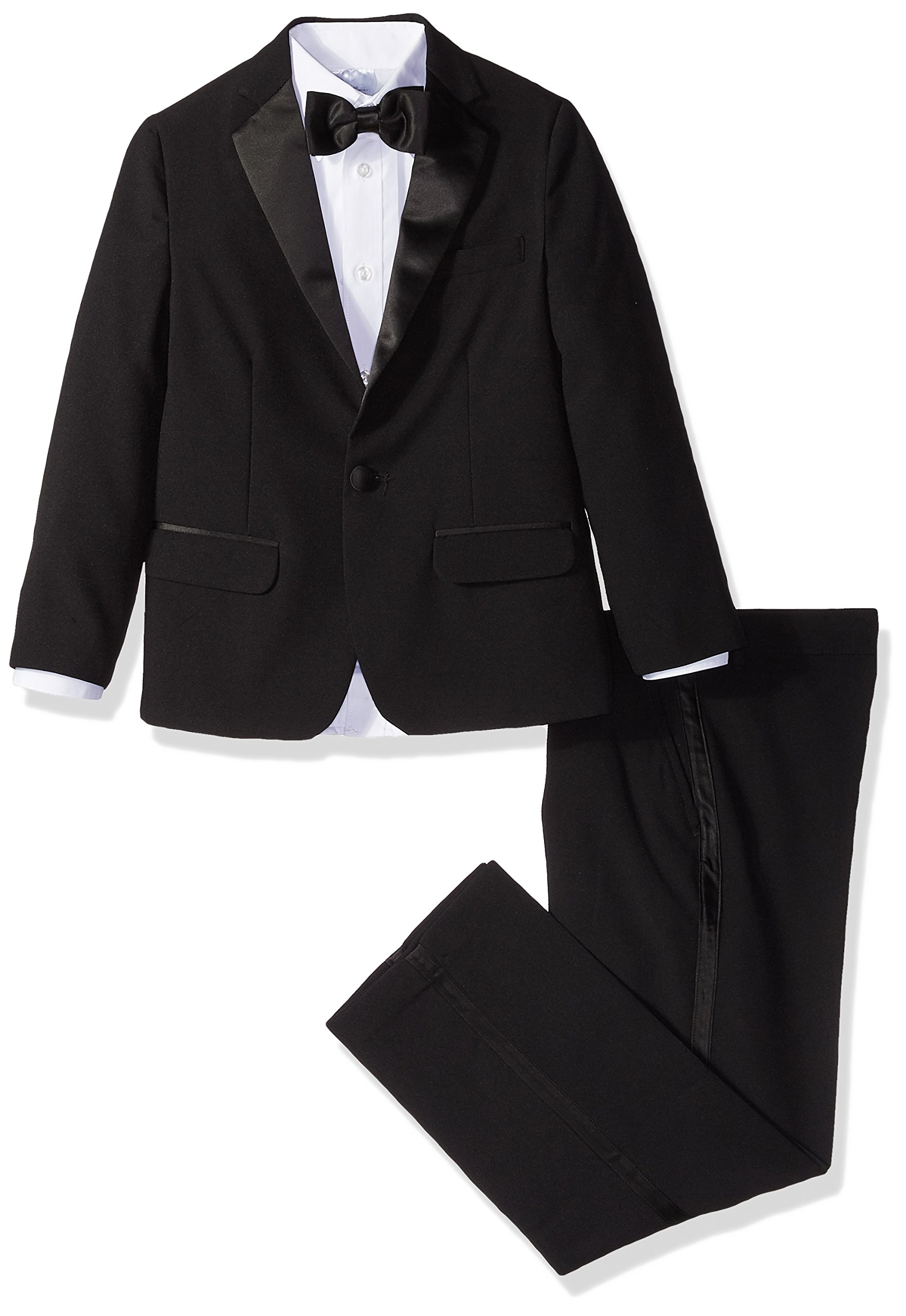 Izod boys 4-Piece Formal Tuxedo Set with Jacket, Pants, Shirt, and Bow Tie, Black, 8