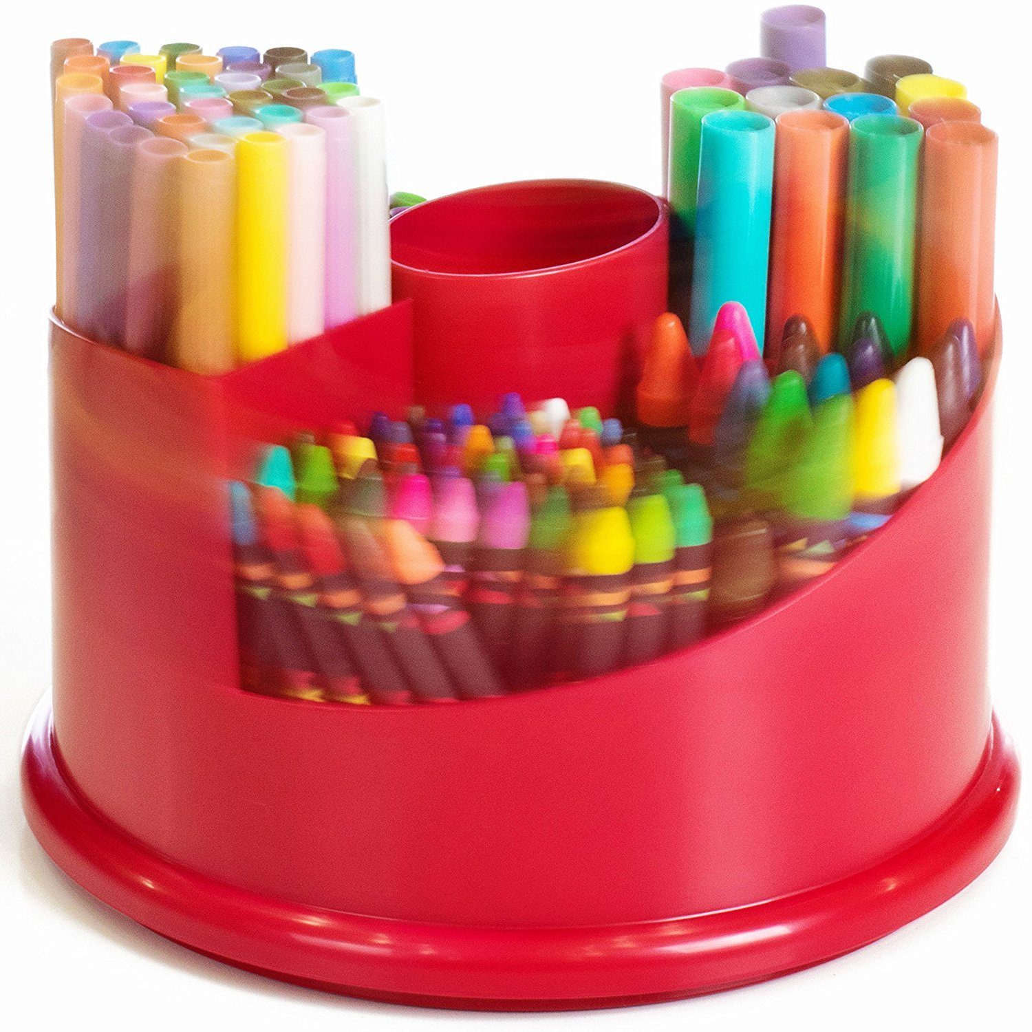 All In 1 Spinning Art Caddy with Set of Crayons, WASHABLE Markers, Scented Markers and Glitter Glue, 151 Piece Set by Kraftic (Image #3)