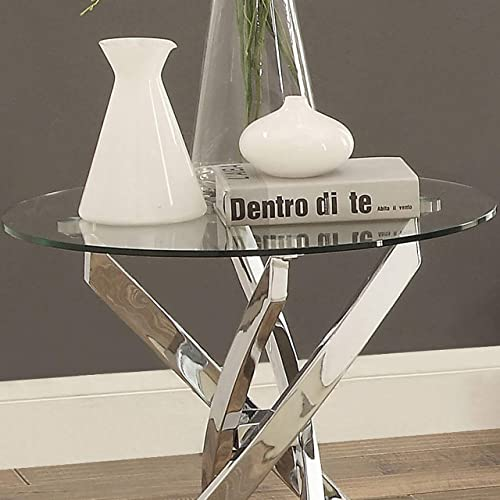 Propel Modern Chrome Round End Table Foa Clear Silver Contemporary Transitional Glass Metal Finish Includes Hardware