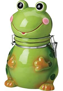 Attrayant Hinged Jar, Frog Collection, Hand Painted Earthenware Storage Container By  Boston Warehouse