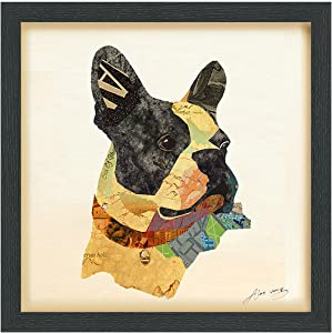 """Empire Art Direct Closeup Dimensional Collage Handmade by Alex Zeng Framed Graphic Dog Wall Art, 17"""" x 17"""" x 1.4"""", Ready to Hang, Boston Terrier Close-up"""