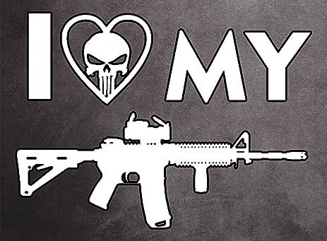 Amazon i love my ar15 punisher skull tactical military police i love my ar15 punisher skull tactical military police nra gun rights silver full color window publicscrutiny Gallery