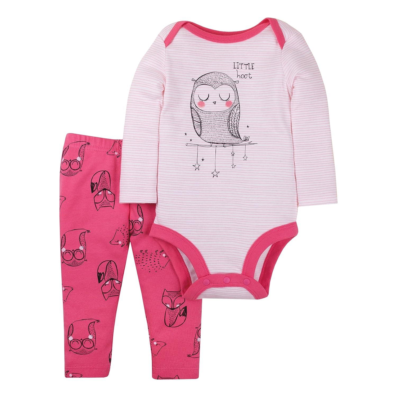 Lamaze Baby Girls Organic 2 Piece Longsleeve Bodysuit and Pant Set