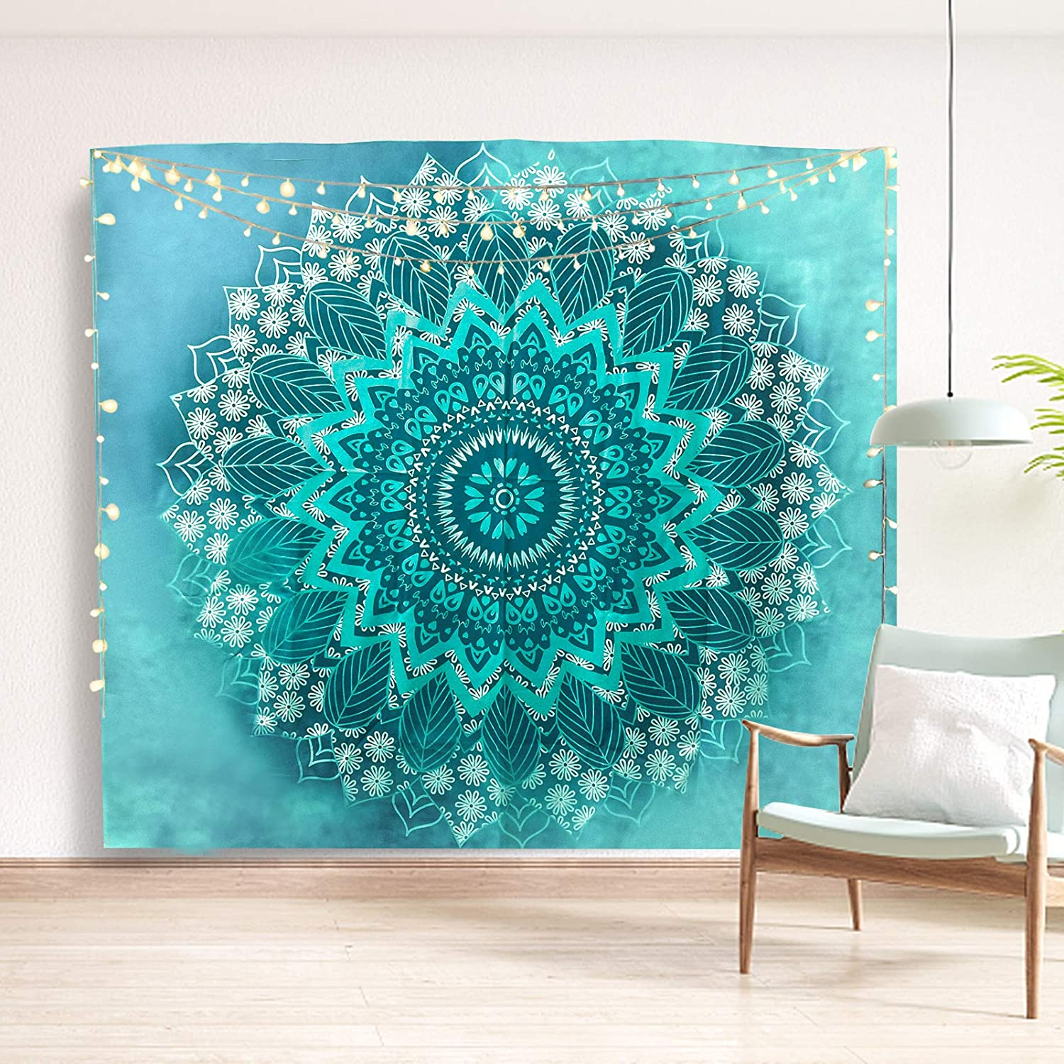 YTFSUCT Mandala Tapestry,Bohemian Hippie Tapestries Washable Psychedelic Teal Peacock Tapestry Wall Hanging Decor for Bedroom Living Room Dorm (51.2 x 59.1 inches)
