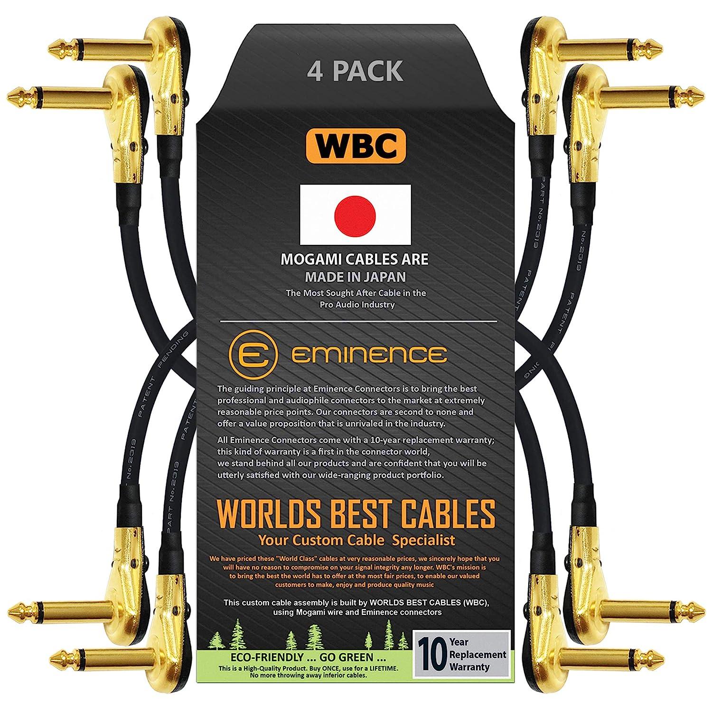 4 unit/à -Mogami 2319-25 cm a basso profilo 10 pollici - Cavo patch per effetti strumentali con connettori TS placcati oro ad angolo retto tipo pancake TS 6,35 mm