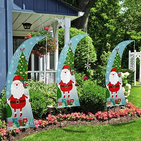 QSUM Decoraciones de Navidad, Bandera de Santa Claus, Banderas de Jardín Navideño, Swooper Flag para Año Nuevo, Navidad, Patio, Casa: Amazon.es: Hogar