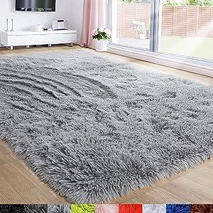 Light Gray Area Rug for Bedroom,5'X7',Fluffy Shag Rug for Living Room,Furry Carpet for Kids Room,Shaggy Throw Rug for Dorm Room,Fuzzy Plush Rug,Grey Carpet,Rectangle,Cute Room Decor for Baby