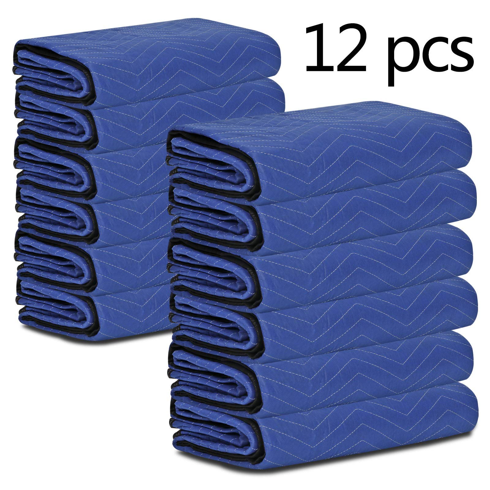 """F2C Mover Moving Blankets Pro Economy Thick 80""""x 72"""" Moving Packing Blankets Skins Pack of 12 Total 35Lbs/ Doz, Blue by F2C (Image #6)"""