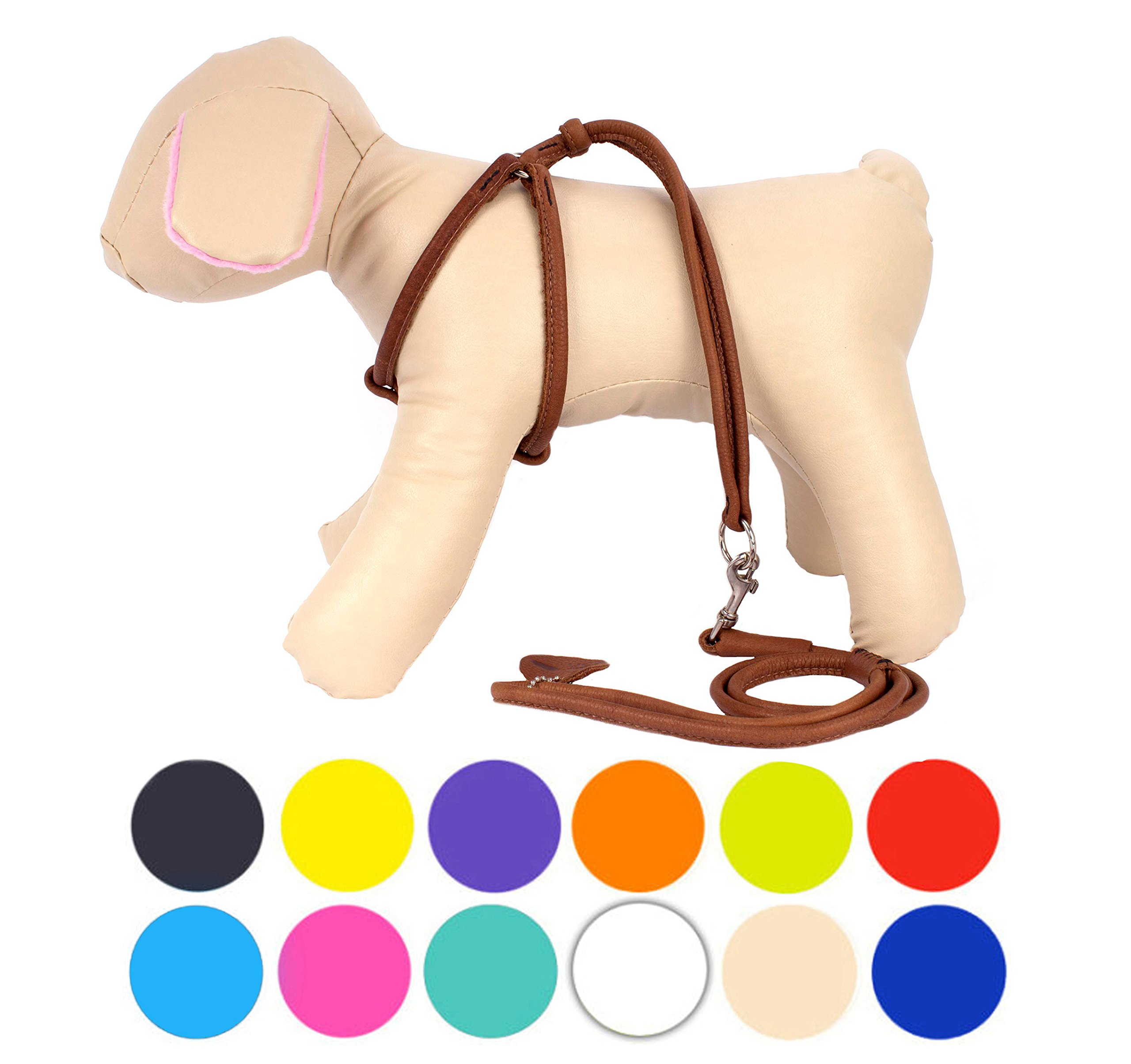CollarDirect Rolled Leather Dog Harness Small Puppy Step-in Leash Set Walking Pink Red White Blue Green Black Purple Beige Brown Yellow (Brown, S)