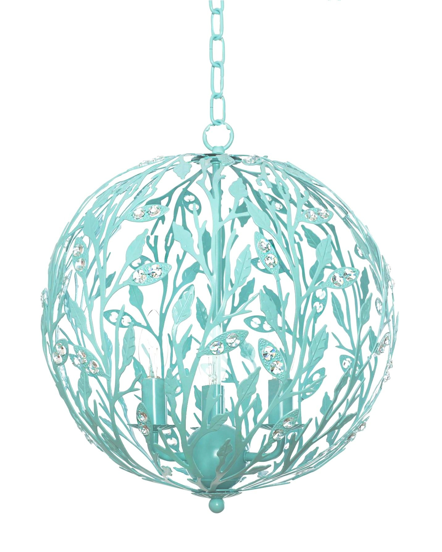 Firefly Kids Lighting - Luna Light Fixture - Turquoise, 15-Inches Diameter, 4-Light E12 60W each (not included), Hand-Wrought Iron, Authentic Crystals, Dimmable