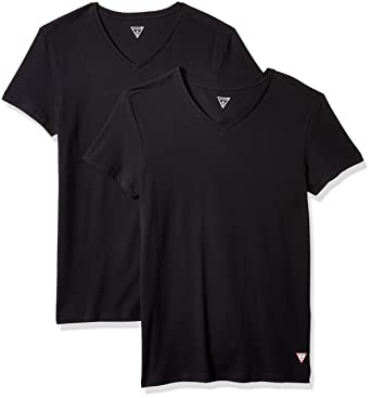 107921bee4827 GUESS Men s Logo V Neck 2 Pack T-Shirt at Amazon Men s Clothing store