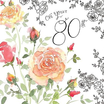 Fiori 80 Anni.Twizler Biglietto Di Auguri Per 80 Compleanno Per Donna Con