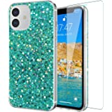 IKAZZ iPhone 12 Case,iPhone12ProCasewithScreenProtector,Glitter Bling Sparkle Shiny TPU Cover for Girls Women Girlfrien