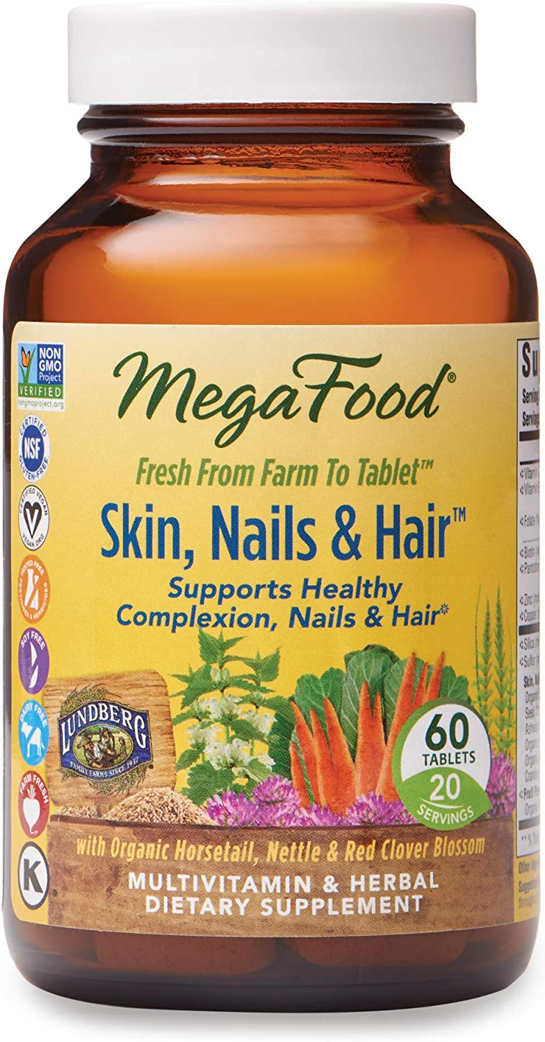 MegaFood, Skin, Nails & Hair, Supports Healthy Complexion, Nails & Hair, Multivitamin & Herbal Dietary Supplement, Gluten Free, Vegan, 60 Tablets (20 Servings) (FFP)