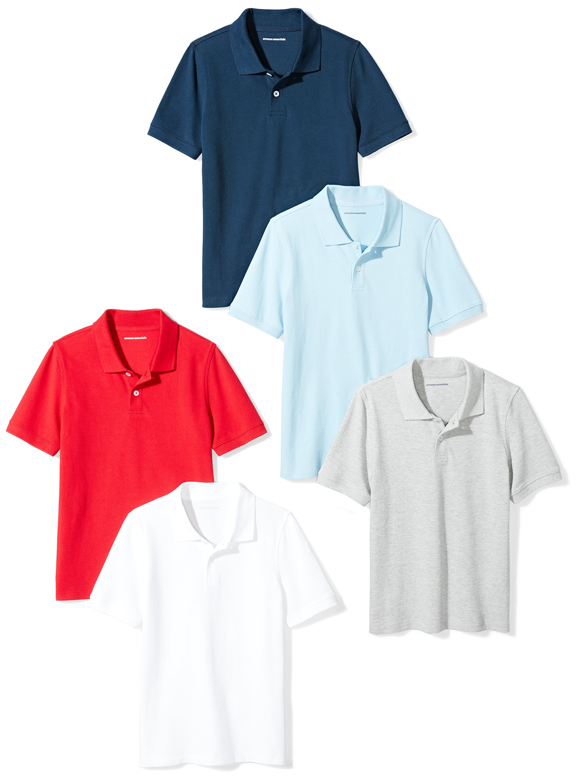 Amazon Essentials Boys' 5-Pack Short-Sleeve Uniform Pique Polo, Multi Pack, M(8)