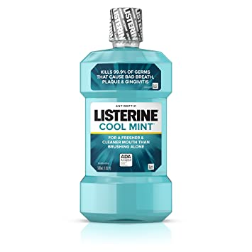 Amazon.com: Listerine Cool Mint Antiseptic Mouthwash for Bad Breath, Plaque and Gingivitis, 500 ml: Prime Pantry