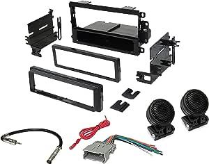 American Terminal GMK420 Single DIN Installation Dash Kit for Select 1995-2008 GM/Chevrolet/Honda/Isuzu/Suzuki Vehicles + Absolute Tweeter