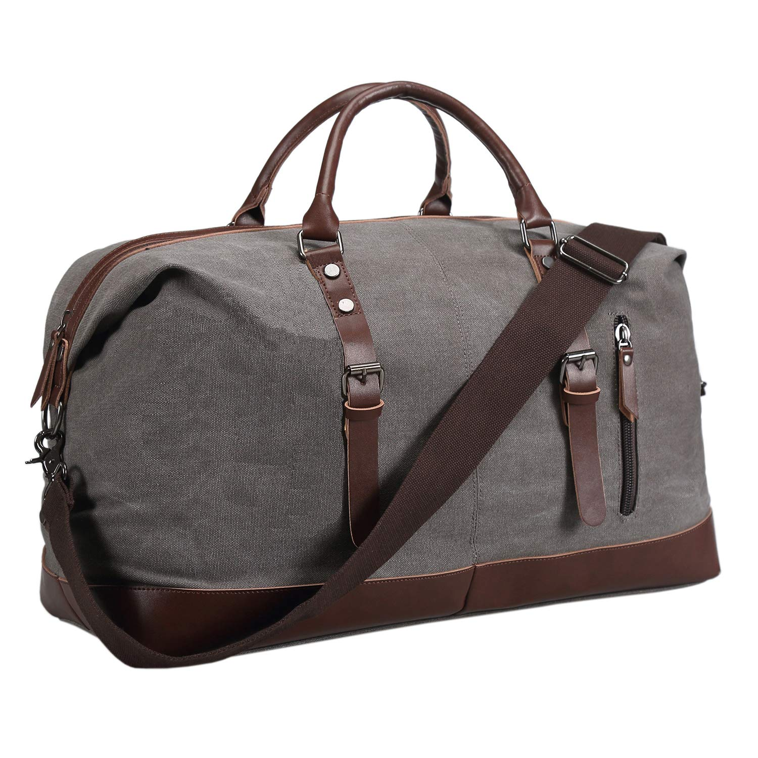Ulgoo Duffel bag Oversized Canvas Travel Bag PU Leather Weekend Bag Overnight (Grey) by Ulgoo