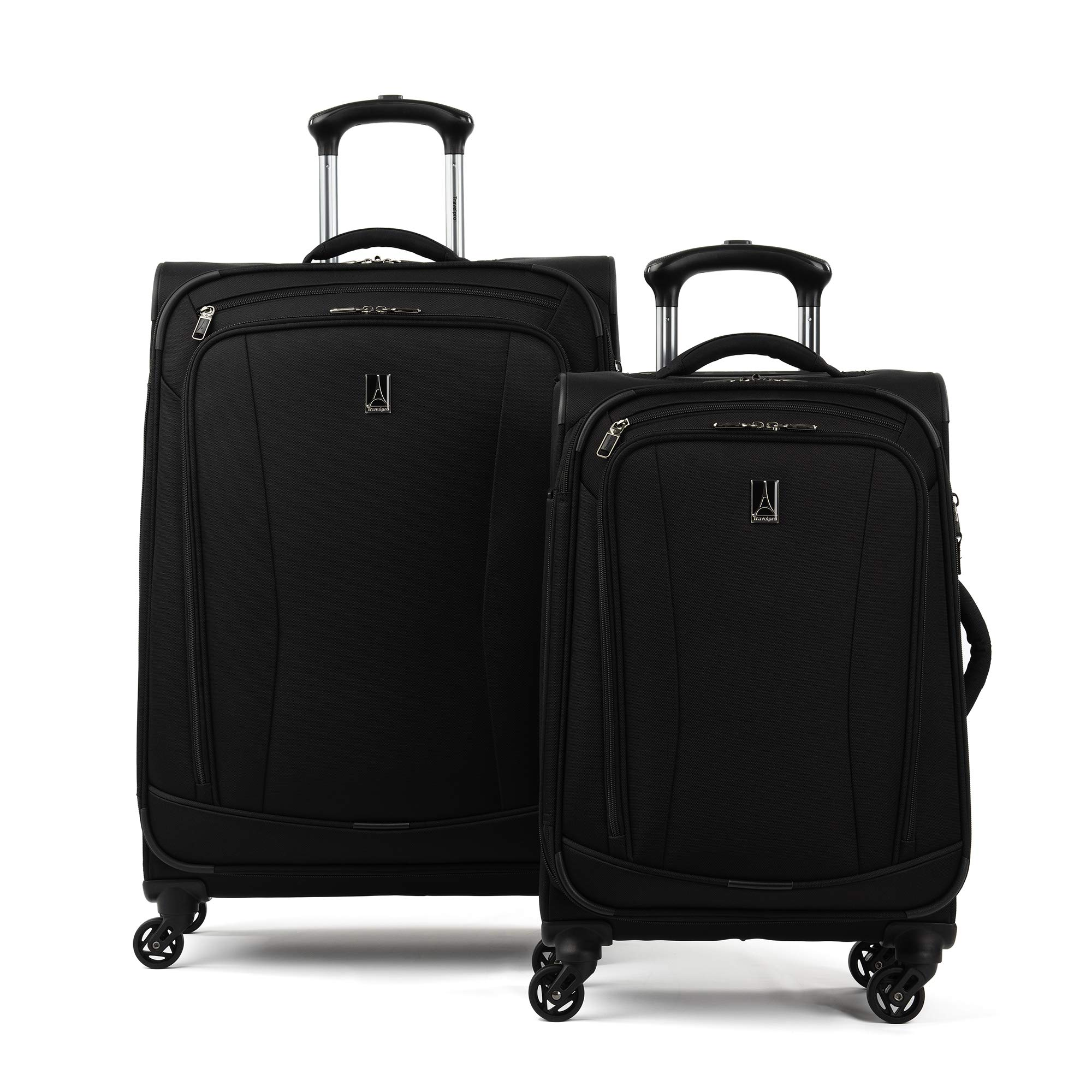 Travelpro TourGo Carry on and Checked Medium Spinner Luggage Set, Black by Travelpro