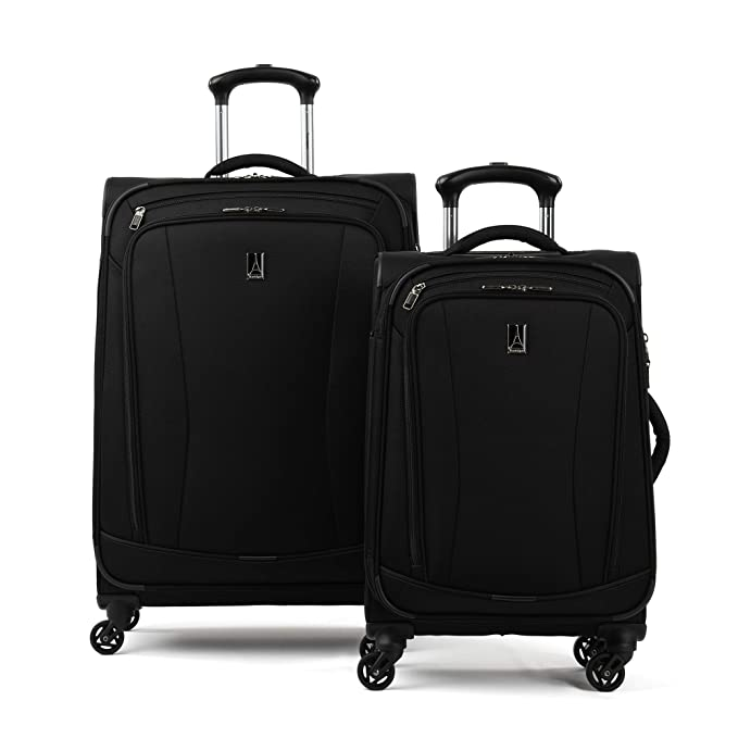 "Travelpro TourGo 20"" and 25"" Softside Spinner Luggage Set, Black"