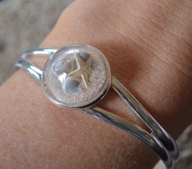 Ocean Jewelry Glass globe silver bracelet cuff terrarium starfish sea star beach wedding Beach Jewelry Beach Bracelet Shell Bracelet