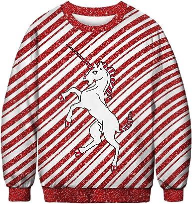 Yidali Suéteres feos Unisex de Navidad Novedad Gráfico 3D Camisa Divertida del suéter del Cuello Redondo Sudaderas del Puente de Navidad de Papá Noel: Amazon.es: Ropa y accesorios