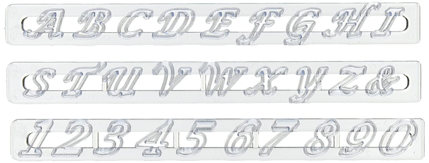 FMM Upper Case Script Alphabet & Number Tappit Cutters Set CK Products 43-C272
