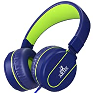 Artix Foldable On-Ear Adjustable Tangle-Free Wired Headphones, Compact Stereo Earphones with In-line Microphone and Controls for Children, Teen, Adult Head Phones for Running Sport, Travel- Blue