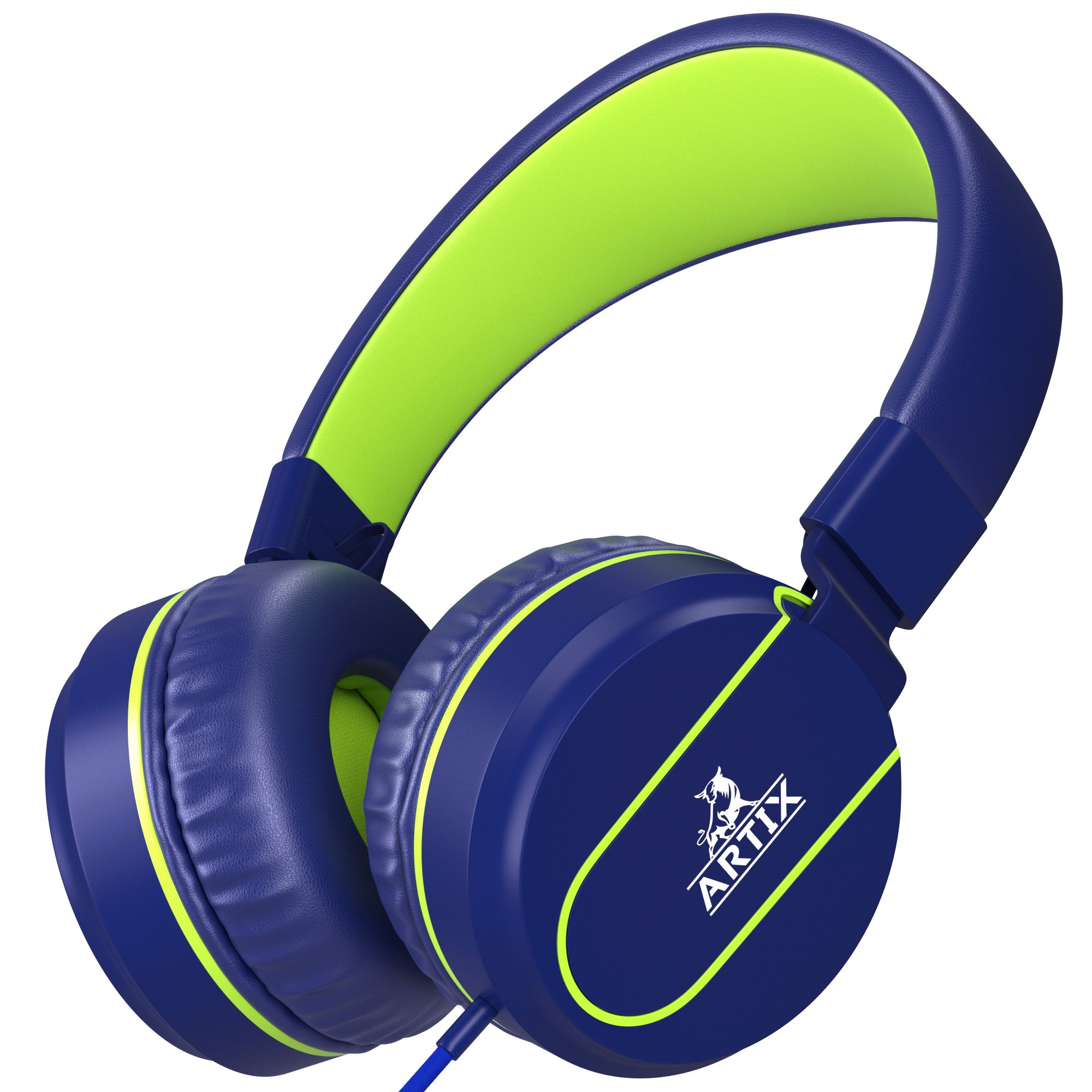 Artix Foldable On-Ear Adjustable Tangle-Free Wired Headphones, Compact Stereo Earphones with In-line Microphone and Controls for Children, Teen, Adult Head Phones for Running Sport, Travel- Blue by ARTIX