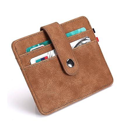 sciuU Cartera Tarjeta de Crédito, Bloqueo RFID, Ultra Delgado Cuero PU Multiuso Bolsillos Billetera, para Hombres y Mujeres, Beige