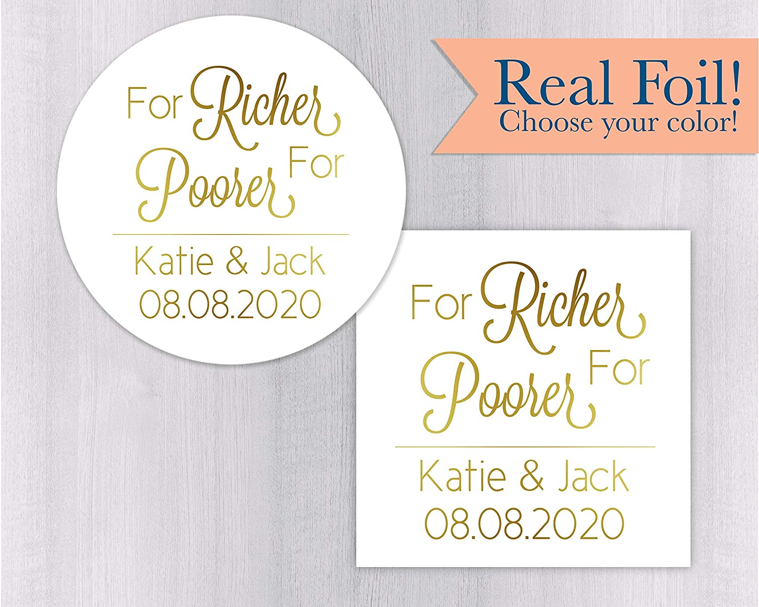 Amazon com for richer for poorer color foiled stickers lottery ticket wedding labels customizable wedding stickers 217 1 f handmade