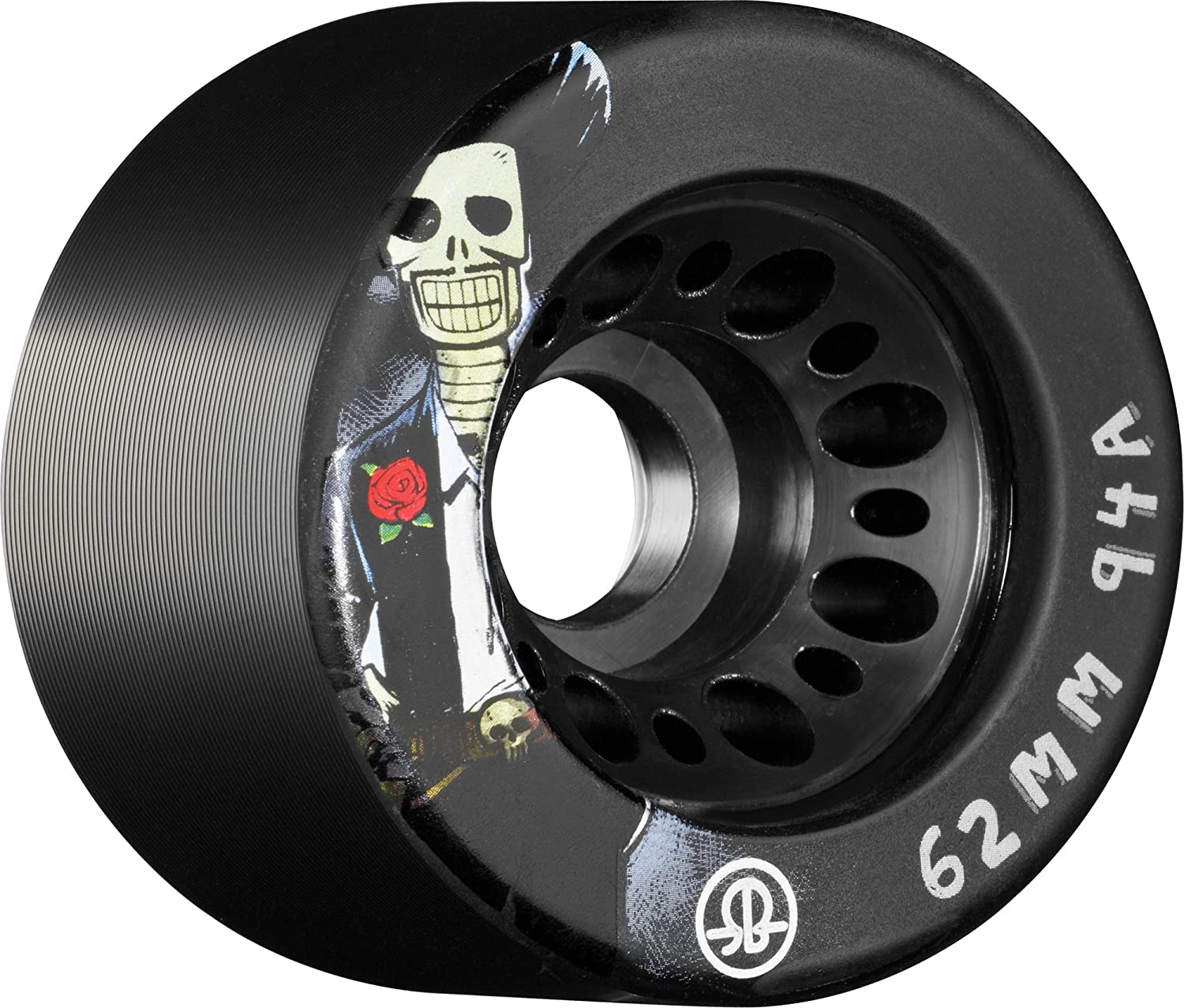 62mm White RollerBones Speed//Derby Nylon Day of The Dead 94a 4 Pack Roller Skate Wheels