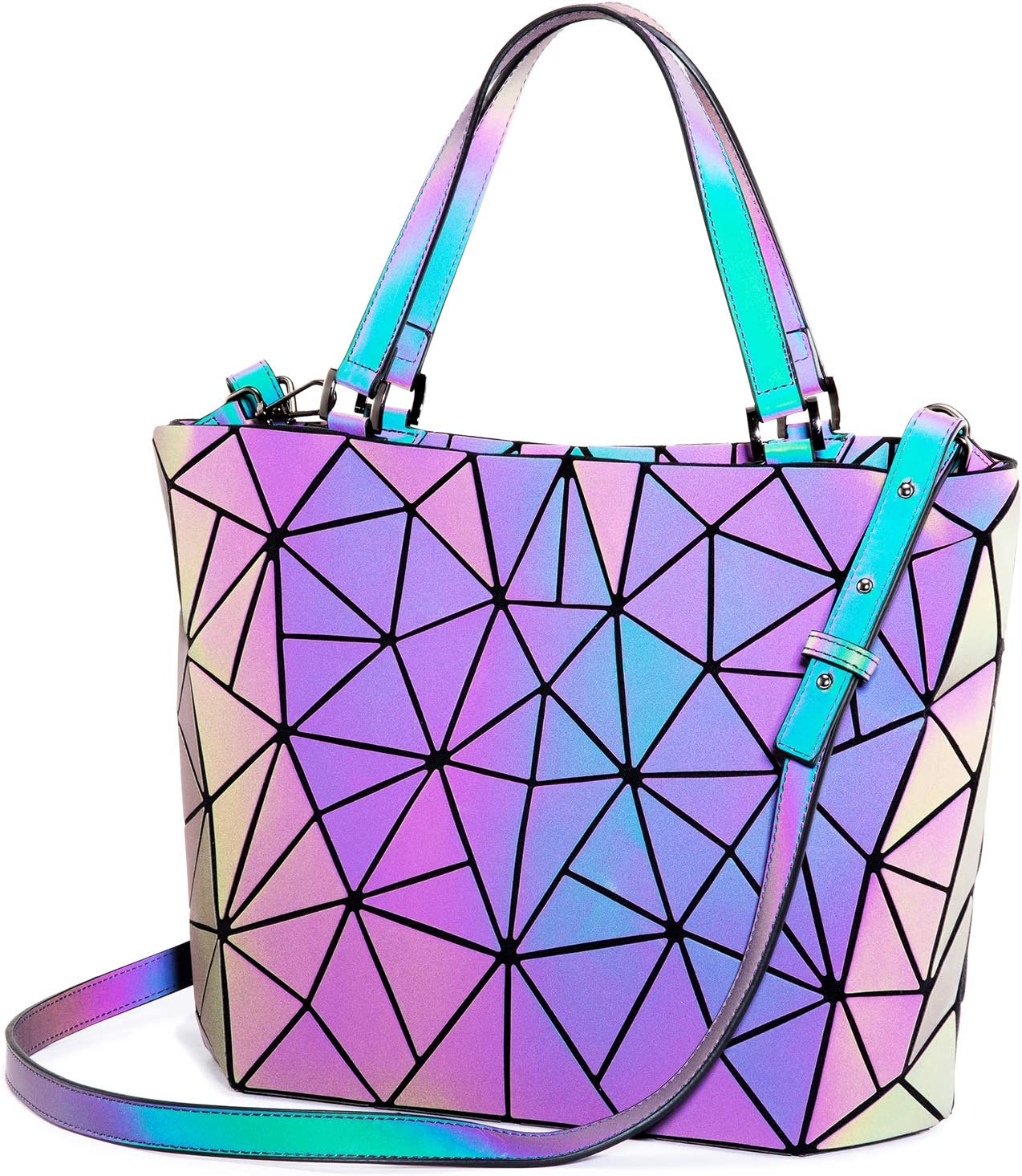 Geometric Handbag, LOVEVOOK Luminous Reflective Bag, Holographic Shoulder Bag Tote Bag Shopper for Women, for Vegans