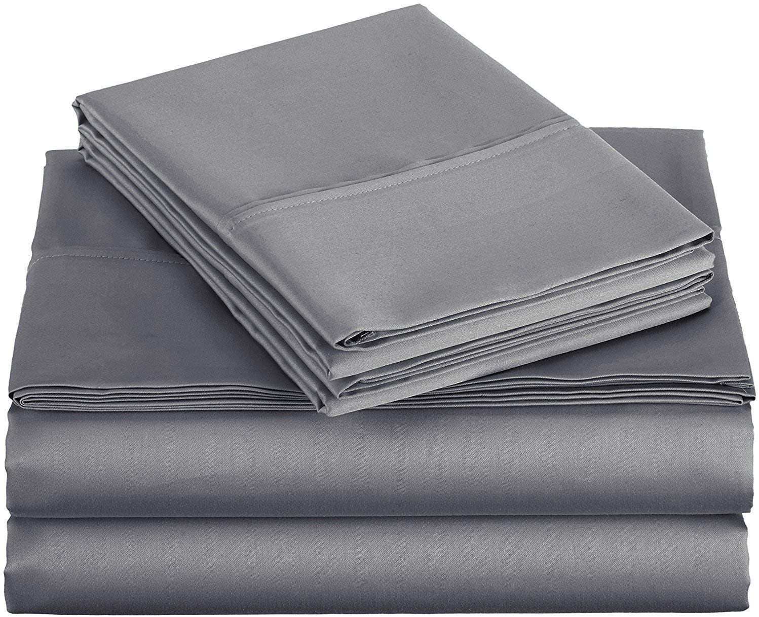 Ras Décor Linen Sheets for Motorhomes & Camper Beds,RV Sheets 72x75 Short King,Fit up to 12 Inch Deep 100% Cotton, Dark Grey - 4 Piece Sheet Set