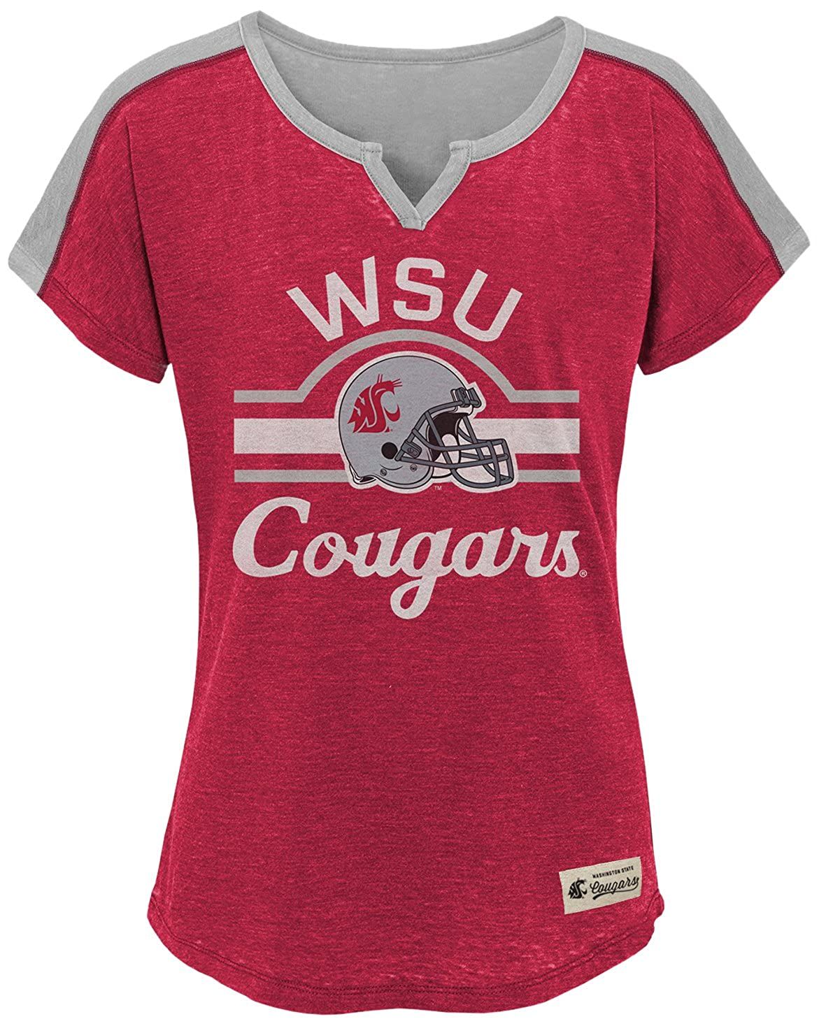 Victory Red 14 NCAA by Outerstuff NCAA Washington State Cougars Youth Girls Tribute Raglan Football Tee Youth Large